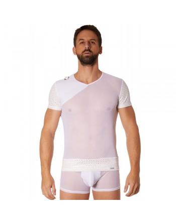 T-shirt blanc maille et brillance ajourée - LM902-81WHT