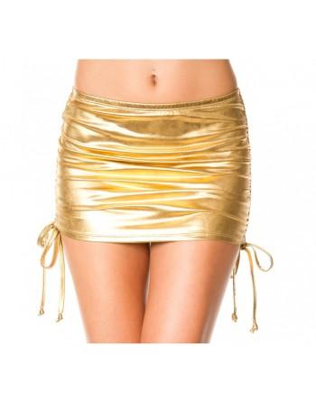 Mini jupe droite, effet métallique, liens pour ajuster hauteur - ML154GLD