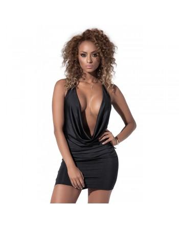 Mini robe style drapée noire - MAL4539BLK