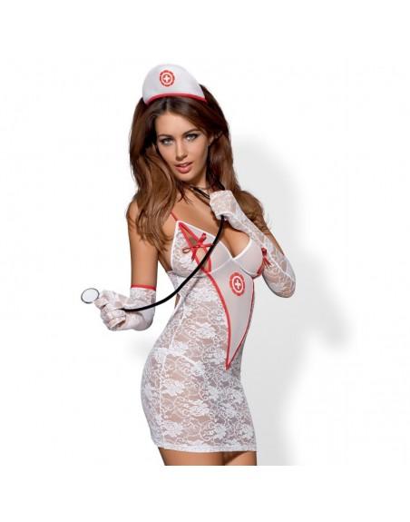 Medica Robe et Stétoscope - Blanc et Rouge