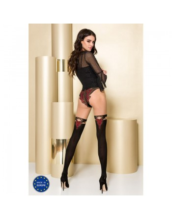 TI104 Collants 60/20 DEN - Noir et Rouge