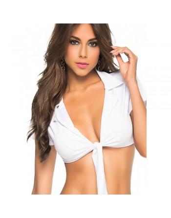 Top court blanc avec noeud de cravate - MAL9002WHT