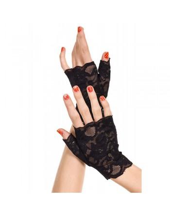 Gants noirs doigts ouverts dentelle florale - ML416BLK