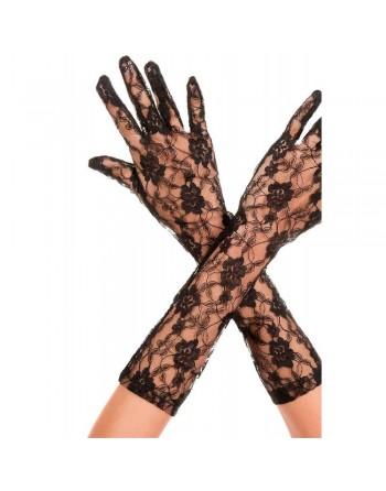 Gants longs mi-bras noirs dentelle florale - ML481BLK
