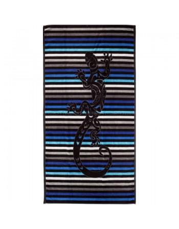 Serviette de plage salamandre rayé Bleu