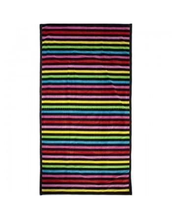 Serviette de plage petites rayures multicolores