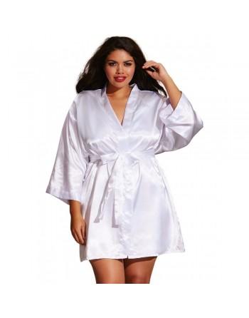 Kimono satin, ceinture attachée, nuisette et cintre assorti - DG3717XWHT