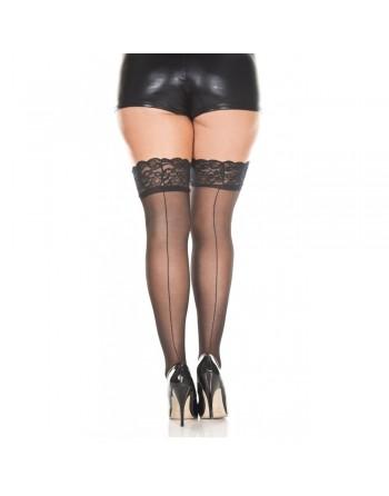 Bas noirs nylon voile couture et jarretières dentelle - MH4150XBLK