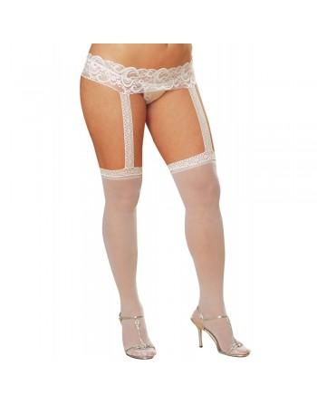 Bas fins blancs grande taille avec porte jarretelles dentelle intégré - DG0013XWHT