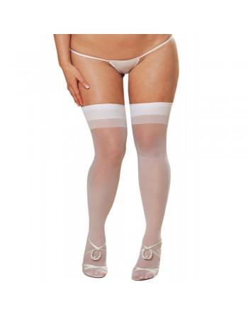 Bas nylon blancs coutures grande taille pour jarretelles - DG0007XWHT