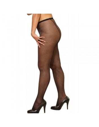 Collant couture grande taille nylon noir fine résille - DG0011XBLK