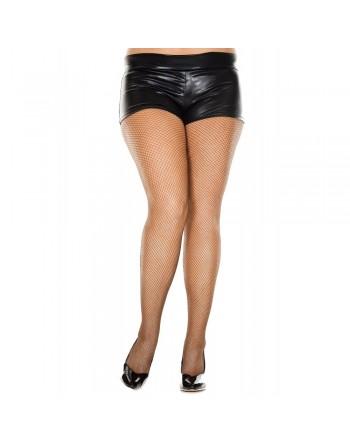 Collant grande taille marron fine résille sexy - MH9000XCOF