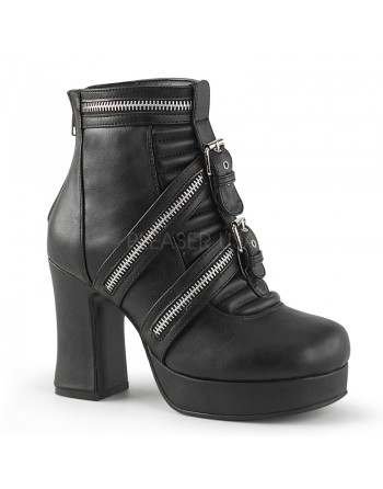 BOTTINES EN CUIR NOIR TALON...
