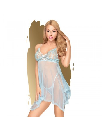 Nuisette et string assorti Bleu Naughty doll - PH0085BLU