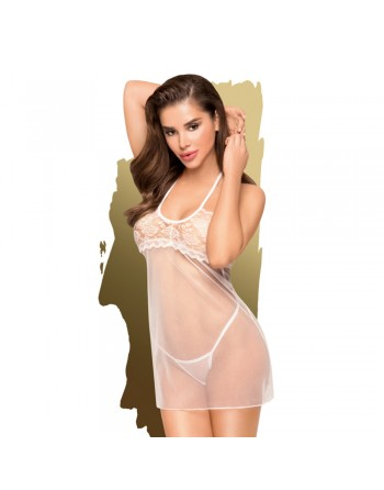 Nuisette transparente et string assorti Blanc All yours - PH0092WHT